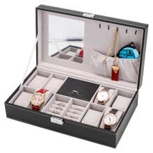 -Jewelry Box Leather Watch Organizer Storage Case with Lock and Mirror for 8 slots Men Women Black on JD