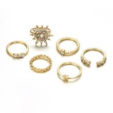 -Vintage Star Rhinestone Moon Alloy Knuckle Rings Set For Women on JD