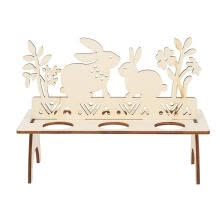-Greensen Wooden Bunny Easter Egg Tray Holder Stand DIY Decoration on JD