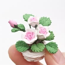 -Siaonvr Mini Dollhouse Miniature Green Plant Flower in  Pot Fairy Garden Accessory on JD
