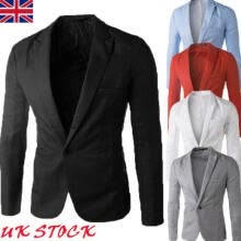 -Men's Casual Slim Fit Formal Business One Button Suit Blazer Coat Jacket Tops UK on JD