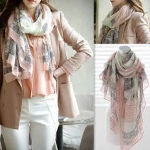 -Women 's Casual Voile Sheer Soft Long Scarf Eiffel Tower Printed Shawl Stole on JD