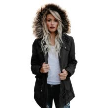 -Women's Army Green Large Raccoon Fur Collar Hooded Coat Parkas Cotton Outwear Long Detachable Lining Winter Jacket Thick on JD