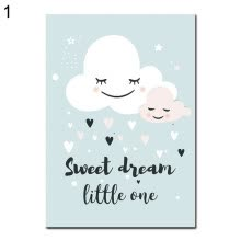 -Canvas Painting Cloud Moon Star Heart Dream Picture Poster Wall Kids Room Decor on JD