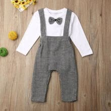 -2pcs Newborn Kid Baby Boy Clothes Tie Romper Tops+Bib Pants Cotton Outfits 0-24M on JD