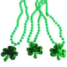-Funny Green Luck Grass Round Beads Wine Glass Pendant Necklace Ireland St. Patrick's Day Decorative on JD