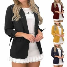suiting-blazers-Fashion Women Thin Blazer Office Lady Lapel Long Sleeved Solid Color Suit Slim Casual Blazer Coat on JD