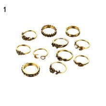 -11 Pcs Women Retro Rose Leaf Carved Knuckle Finger Rings Alloy Ring Set Jewelry on JD