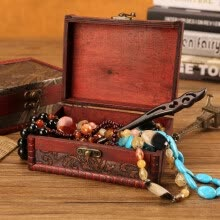 -Jewelry Box Vintage Wood  Box With Mini Metal Lock For Storing Jewelry on JD