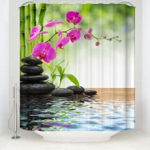 -1 Digital Printed Polyester Bamboo Shower Curtain Zen Natural Bathroom Waterproof Shower Curtain Garden Theme Decoration on JD