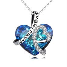 -925 Sterling Silver  I Love You Forever  Crystal Heart Pendant Necklaces Blue Crystal Choker Necklace For Woman on JD