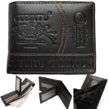 -GUBINTU Men Paris Leather Card Cash Receipt Holder Organizer Bifold Wallet Purse on JD