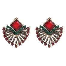 -Fashionable Scalloped Red Crystal Stud Earrings European And American Personality Earrings For Women on JD