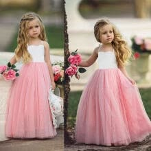 -Princess Kids Girls Wedding Dress Party Prom Birthday Strap Tulle Tutu Dresses 2-7Y on JD