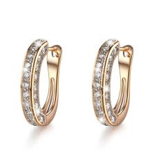-Shiny 925 Sterling Silver In18K Gold Filled  U-Shape Huggie Simulated Diamond Hoop Earrings For Women Engagement Earrings on JD