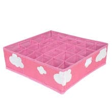 -3in1 Pink Grid Pattern Folding Storage Box Underwear Necktie Organizer Box on JD