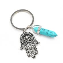 -1 PC Fashion Natural Stone Pendant Keychain Natural Quartz Stone Evil Eye Fatima Pink Crystal Key Chains on JD