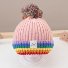 pullovers-Baby Smiley Colorblock Pullover Sweater Beanie Fur Pom Bobble Hat Crochet Cap on JD