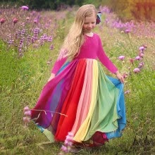 -Kids Girls Rainbow Splice Princess Pageant Gown Birthday Party Dresses on JD