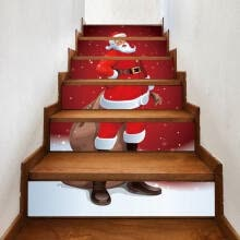 -Self-adhesive Merry Christmas Stair Stickers for Hone DIY Cartoon Wall Stickers Santa Claus Waterproof Staircase Mural 6Pcs on JD