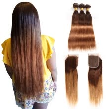 -7A Brazilian Virgin Hair kapelli Ombre Lace closure Hair Bundles with Closure, #T4/30 Human Hair Bundles on JD