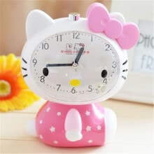 clocks-Hello Kitty Children Mute Alarm Clock With Night Light Multiple Ring Tones Bedside Alarm Birthday Gift on JD