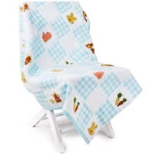 blankets-throws-【Jingdong Supermarket】 Sanli cotton cloth stitching staggered and intertwined towel cartoon wrapped towel children's cover blanket light blue on JD