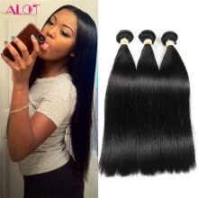 -ALot Human Hair 3 Bundles / Lot Brazilian Virgin Straight Hair Weave Natural Black Can be Dye or Bleached Good Quality Hair on JD