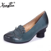 875061444-Xiangban genuine leather women shoes heeled female footwear original design shoes hand carved peacock on JD