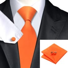-N-0266 Vogue Men Silk Tie Set Orange Solid Necktie Handkerchief Cufflinks Set Ties For Men Formal Wedding Business wholesale on JD