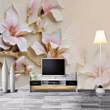 -Custom 3D Mural Wallpaper Stereo Relief Magnolia Flower Wall Art Painting Mural Living Room Sofa Bedroom TV Backdrop Wallpaper on JD