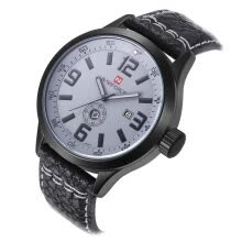 -Brand New Naviforce Men's Leather Quartz Wrist Watch Grey Black on JD