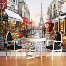 -European Style Street Oil Painting 3D Photo Mural Wallpaper Cafe Restaurant Interior Fashion Decor Wall Paper Papel De Parede 3D on JD