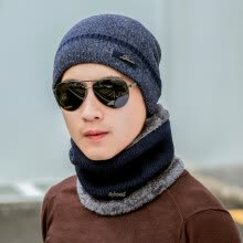 hats-caps-Yu Zhaolin (YUZHAOLIN) male winter warm thickened wool cap plus velvet collar knitted hat wind wool winter wool bibs blue on JD