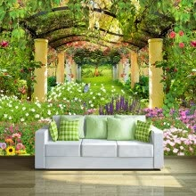 -Custom Photo Wall Paper Pastoral Garden Flower 3D Wall Mural Restaurant Cafe Living Room Backdrop Wall Painting Mural Wallpapers on JD