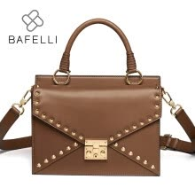 -BAFELLI new arrival split leather shoulder bag vintage rivet satchels crossbody bag caramel color bolsa feminina women bag on JD