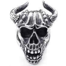 -Hpolw Mens silver&black Stainless Steel casting Elegant personality Skull Ox horn deft design Ring, on JD