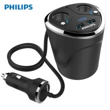 -PHILIPS car charger cigarette lighter one for two double USB double point mouth mouth voltage monitoring DLP3521N on JD