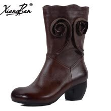 -Xiangban Handmade Women boots Mid-calf Natural Leather Female Shoes Genuine Leather Spring Autumn Winter on JD
