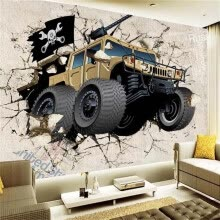 -Custom Wall Mural Wallpaper 3D Cartoon Military Vehicles Photo Wallpaper Children's Bedroom Living Room TV Backdrop Wallpaper on JD