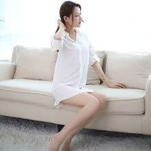 -Luo Manxi sexy lingerie white shirt long-sleeved female pajamas sm sexy show temptation uniform suit on JD