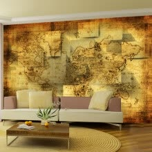 -Custom 3d mural wallpaper TV backdrop wall non-woven wallpaper bedroom living room European style ancient map large mural on JD