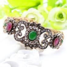 -Exquisite Turkish Resin Flower Folding Bracelet Bangle Adjustable Women Vintage Bangle Antique Gold Color Wedding Jewelry Cuff on JD