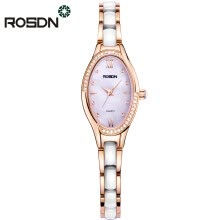 -ROSDN Brand Women Rose Gold Watch Luxury Crystal Sapphire Ladies Ceramic Band Quartz Watch Waterproof Wristwatches on JD