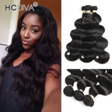 -HCDIVA Mongolian Virgin Hair 3 Bundle Body Wave 100% Real Human Hair Weaving 4 Bundles / Lot Free Shipping No Shedding No Tangle on JD