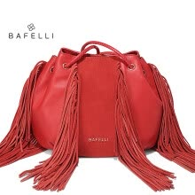 -BAFELLI new arrival genuine leather handbag fashion tassel bucket soft sheepskin shoulder bag hot sale green yellow women bag on JD
