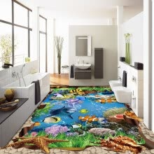 -Free Shipping Beautiful underwater world aquatic color coral 3D flooring bathroom living room flooring mural 250cmx200cm on JD