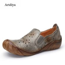 875061444-Artdiya 2018 Spring New Five-fingered Slacker Shoes First Layer Leather Hand-brushed Old-color Handmade Women's Shoes F89-606 on JD