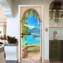 -Photo Wallpaper 3D Roman Column Seaside Landscape Mural Wall Door Sticker Living Room Home Decor  DIY PVC Wall Paper 77cmx200cm on JD