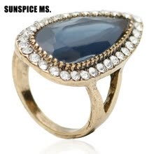 -Fashion Women Wedding Ring Ethnic Jewelry Turkish Indian Bridal Water Drop Resin Crystal Ring Antique Gold Color Vintage Bijoux on JD
